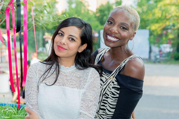 Collien Ulmen-Fernandes und Nikeata Thompson am 27.6.18 beim NYX Face Awards in Berlin, Foto: Dirk Pagels, Teltow