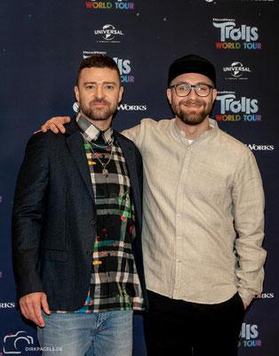 Justin Timberlake und Mark Forster beim Pressecall von Trolls-World Tour, am 17.02.2020 im Waldorf Astoria Berlin, Foto: Dirk Pagels, Teltow