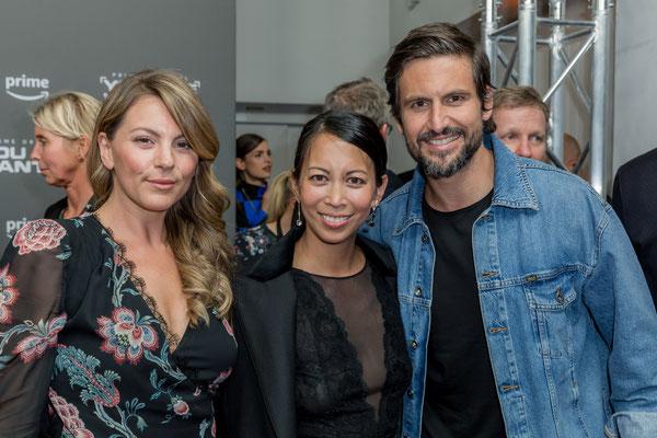 Luise Bähr, Minh-Khai Phan-Thi und Tom Beck beim der Filmpremiere von You Are Wanted, 2. Staffel in Berlin, Foto: Dirk Pagels