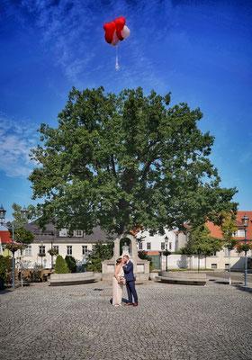 Eine Hochzeit auf dem Marktplatz in der Teltower Altstadt 2020, Foto: Dirk Pagels, Teltow