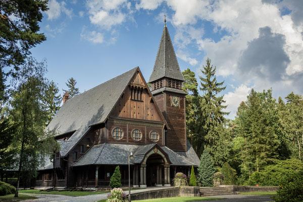 Norwegische Holzkirche auf dem Südwestkirchhof Stahnsdorf, Foto: Dirk Pagels, Teltow