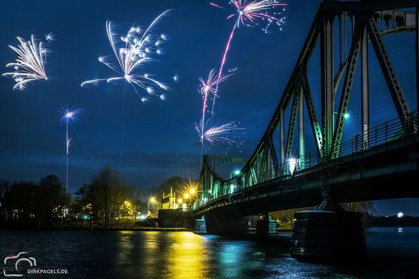 Die Glienicker Brücke am 1.1.2018 zwischen Berlin und Potsdam, Foto: Dirk Pagels