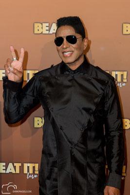 Jermaine Jackson am 29.8.18 bei der Weltpremiere vom Musical Beat It in Berlin, Foto: Dirk Pagels