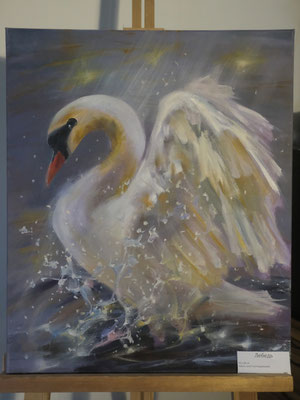 Лебедь - холст, масло, 50х60 см, художник - Светлана Сягаева (5 800 р)
