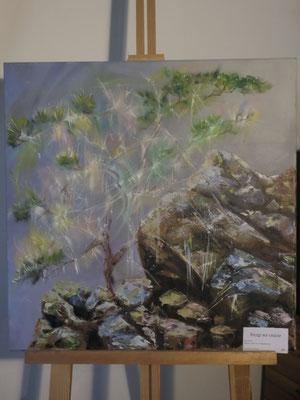 Кедр на скале - холст, масло, 60х60 см, художник - Светлана Сягаева (5 800 р)