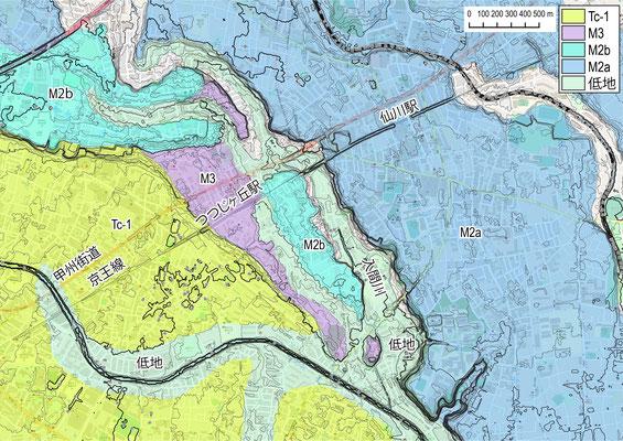 図2 陥没地点周辺(広域)の地形区分図(首都圏地盤解析ネットワーク)