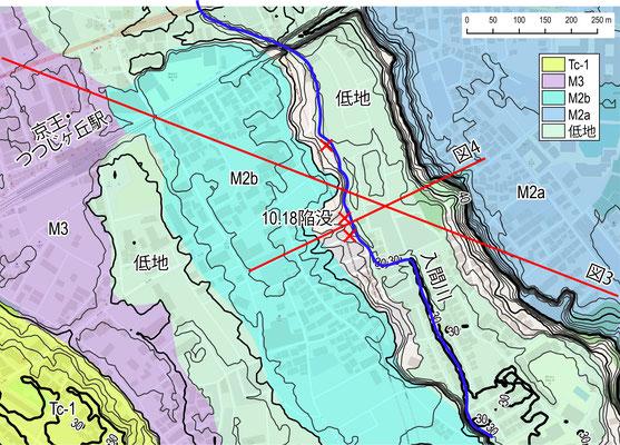 図1 陥没地点周辺の地形区分図(首都圏地盤解析ネットワーク)