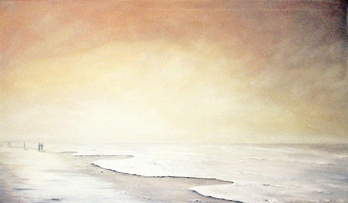 Strandspaziergang Öl auf Leinwand 80x160