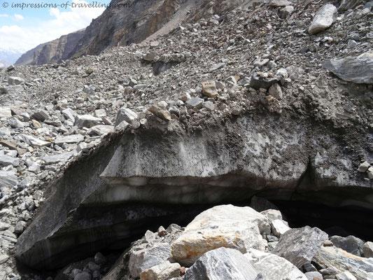 Geröllfelder auf dem Gletscher
