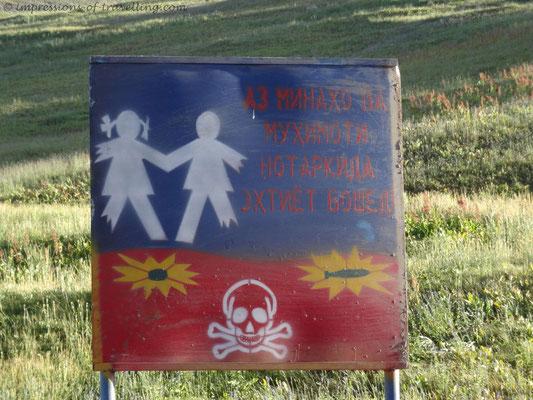Warnhinweis für Landminen