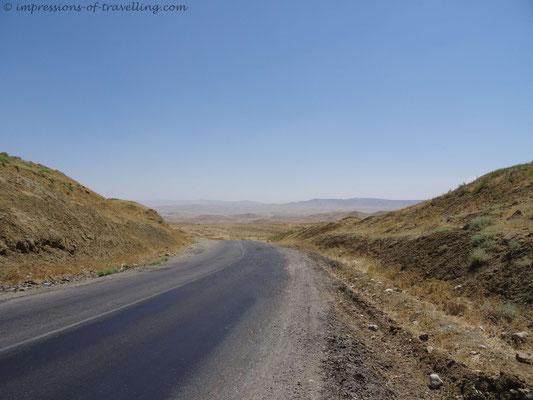 Endlich Berge auf dem Weg nach Tadschikistan