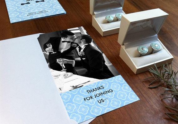 "Danksagungskarte ""1960s Wedding Party"" | www.gleichundgleich.com"