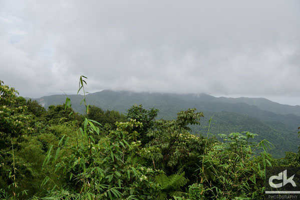 Blick auf den noch aktiven Vulkan (wenn er denn nicht in den Wolken wäre)