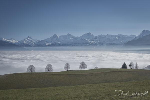 KW3: Thunersee im Nebelmeer mit Eiger, Mönch und Jungfrau - mein Januar-Instagram-Renner; aufgenommen mit meiner kleinen Sony Vollformatkamera RX1RM2
