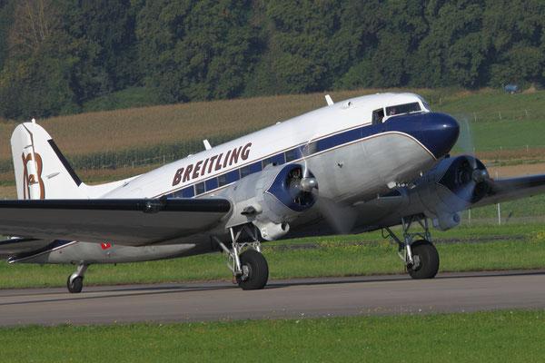 Die DC-3 Douglas Aircraft Company HB-IRJ Breitling wurde 1940 für American Airlines gebaut. Produktionszeit DC3 1936 bis 1945