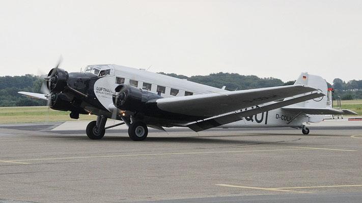 Junkers Ju52 1936 in Dessau gebaut. Historisches Kennzeichen D-AQUI. Betrieben als D-CDLH von der Lufthansa. Gesamtproduktion ca. 5000 Stück!