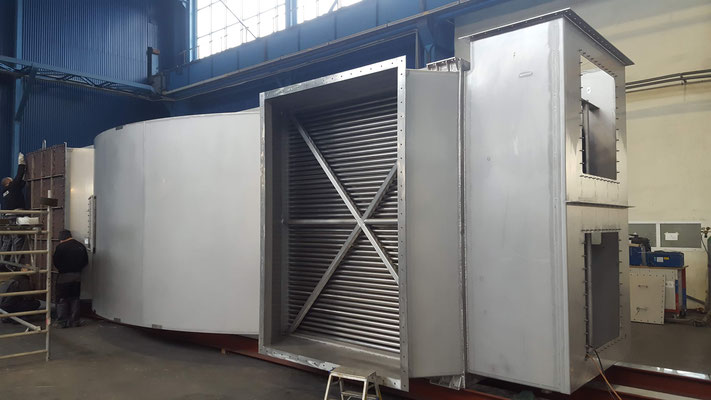 Gas-to-Gas Heat Recuperator (custom-made bare-tube unit with 30 tons stainless steel material)