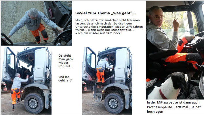Auch mit zwei Unterschenkelprothesen kann man LKW fahren