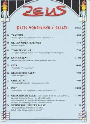 Kalte Vorspeisen und Salate