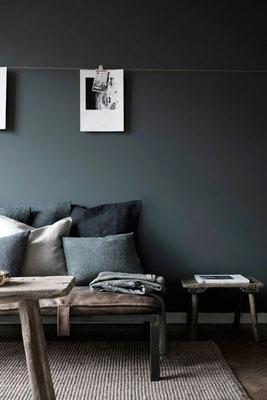 Thème anthracite : Coussins dans les tons bleu et gris