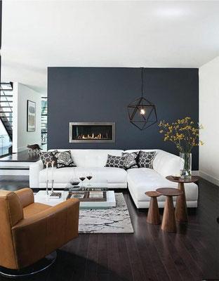 Thème anthracite : joli contraste avec le canapé blanc