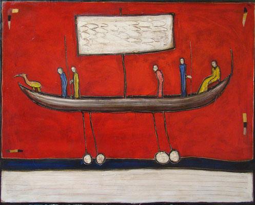 "Narrenschiff_""Das Geschuppte""_100 x 70 cm_2016 (Atelier Karwe)"