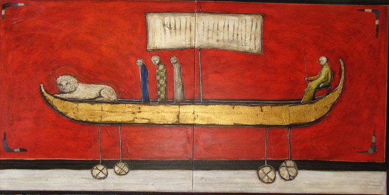 Goldenes Narrenschiff_200 x 100 cm_2016 (Atelier Karwe)