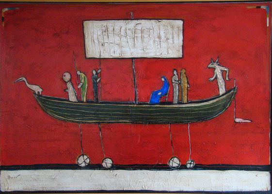 Narrenschiff mit Minotaurus_100 x 70 cm_2016 (Atelier Karwe)