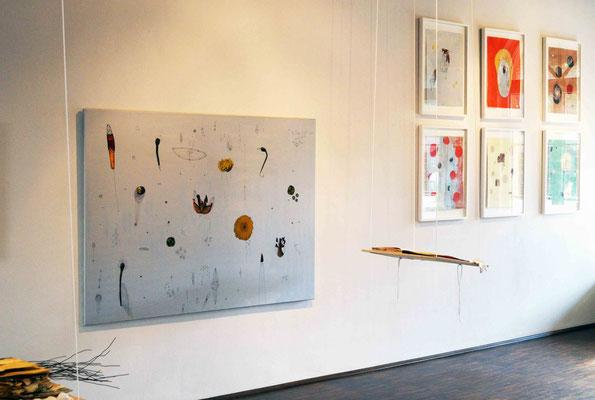 """""""Kosmologie"""", Malerei, Zeichnung, Collage auf Leinwand, 140 x 200 cm,  2017"""
