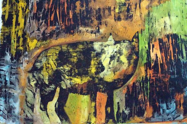 """""""The Wolf"""", Holzschnitt auf Papier, 2007"""