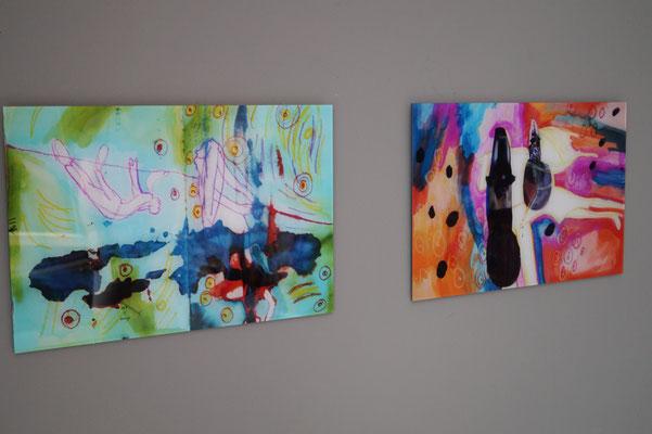 Malerei hinter Acrylglas, Tanzprojekt, 60x 80 cm, 2018