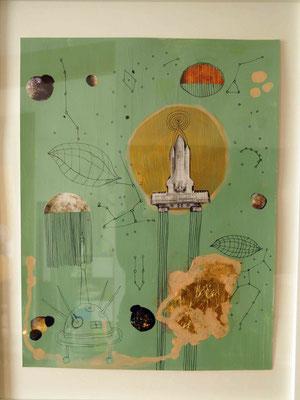 """""""Kosmologie"""", Collage, Zeichnung, Blattgold, Acrylfarbe,  60x80 cm, 2016"""