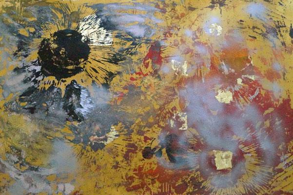 """Kosmologie/ gold"" , Holzschnitt, Blattgold, Acrylfarbe auf Papier, 140 x 100 cm, 2017"