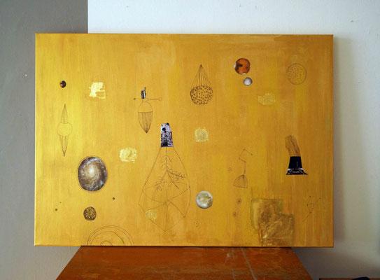 """Kosmologie/ gold"" , Blattgold, Acrylfarbe auf Leinwand, 140 x 100 cm, 2017"