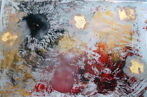 """""""Kosmologie/ silber"""" , Holzschnitt, Blattgold, Acrylfarbe auf Papier, 140 x 100 cm, 2017"""