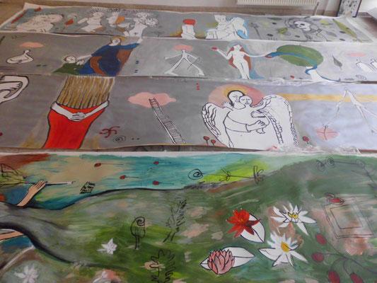 """""""Eine Hommage an die Alchemie"""", Papierrolle, Acrylmalerei, 2016"""
