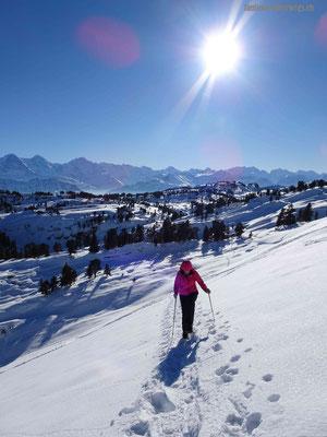 Letzer Aufstieg auf die Sibe Hängste mit Blick zurück in die Berner Alpen
