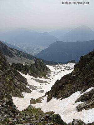 Sicht vom Col de la Golette zurück auf den Aufstieg