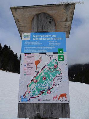 Übersicht Schneeschuhrouten Arvenbüel
