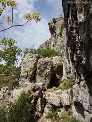 Kurze Kletterpassage