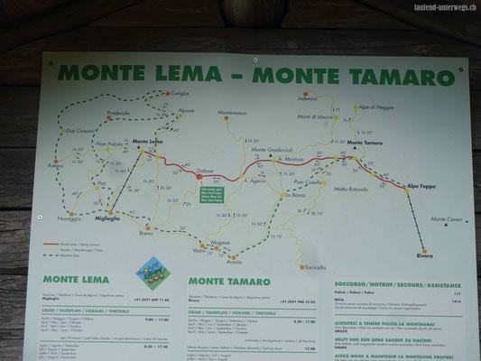 Karte der Wanderungen um Monte Tamaro und Monte Lema