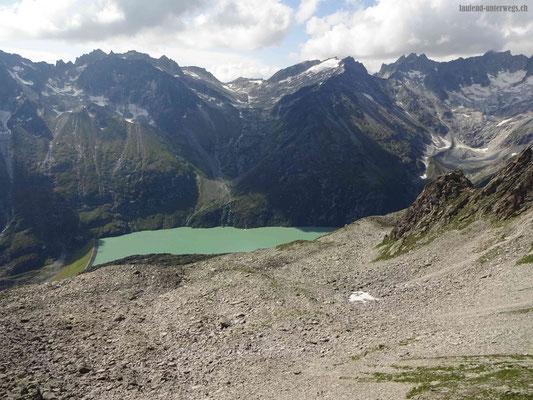Blick von der Bergseeschijenlücke Richtung Göschenensee