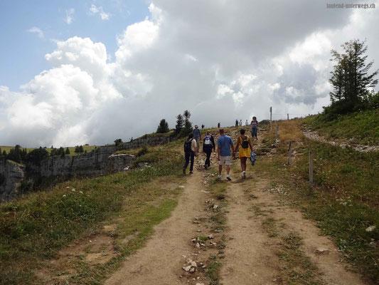 Weg entlang der Klippe, nie einsam ;)