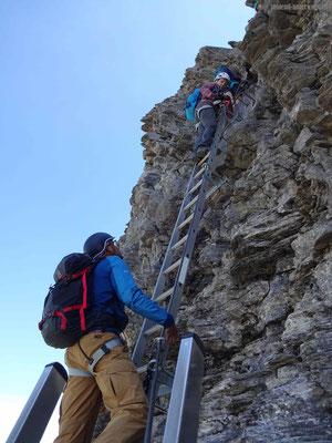 Einstieg über die 6 Leitern auf dem Klettersteig Rotstock