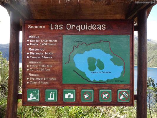 """Tafel mit dem Beschrieb der Wanderung """"La Orquideas"""" (Orchideenwanderweg)"""