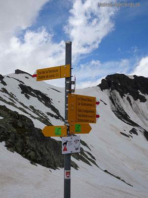 Wegsweiser zum Col de la Terrasse
