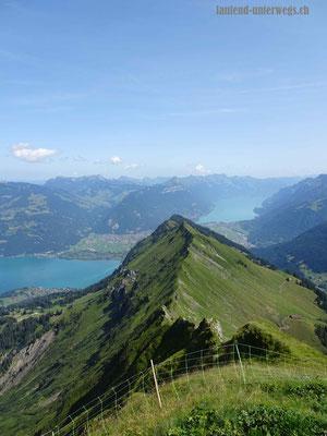Blick vom Morgenberghorn auf den Thuner-  und Brienzersee sowie den Leissiggrat