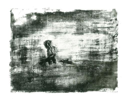 Mädchen mit Hund im See. Lithographie