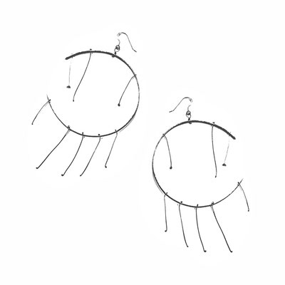 Found steel round Earrings
