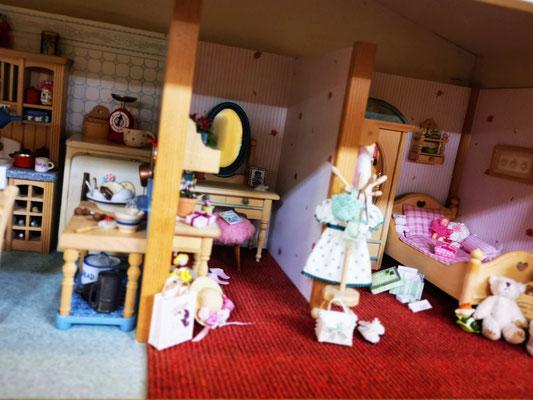 Puppenstube Puppenhaus Schlafzimmer